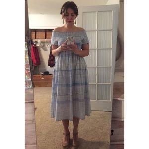 Off the shoulder blue & white dress
